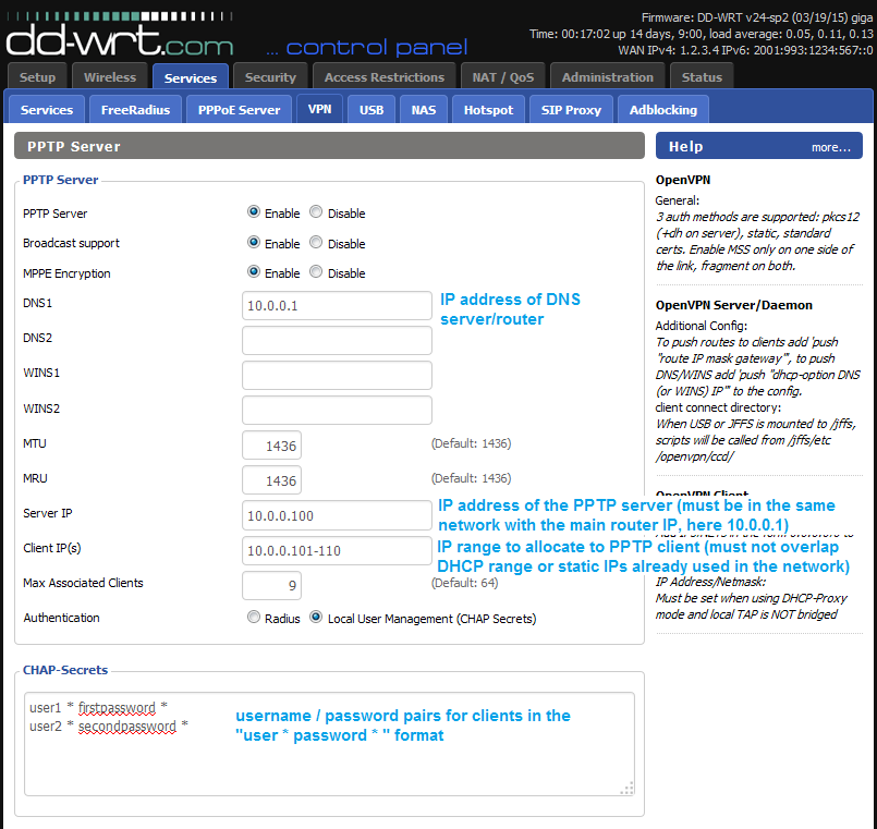 Setting up PPTP server on DD-WRT